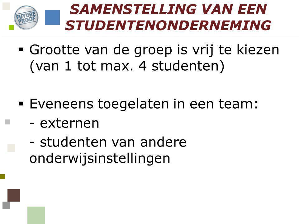 SAMENSTELLING VAN EEN STUDENTENONDERNEMING  Grootte van de groep is vrij te kiezen (van 1 tot max. 4 studenten)  Eveneens toegelaten in een team: -