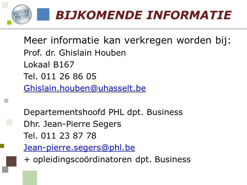 Meer informatie kan verkregen worden bij: Prof. dr. Ghislain Houben Lokaal B167 Tel. 011 26 86 05 Ghislain.houben@uhasselt.be Departementshoofd PHL dp
