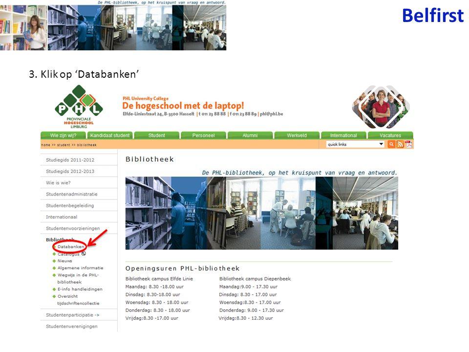 3. Klik op 'Databanken' Belfirst