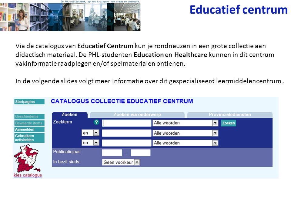 Educatief centrum Via de catalogus van Educatief Centrum kun je rondneuzen in een grote collectie aan didactisch materiaal.