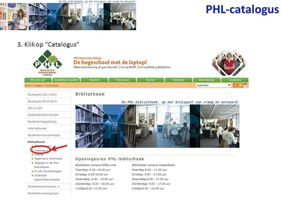 3. Klik op Catalogus PHL-catalogus