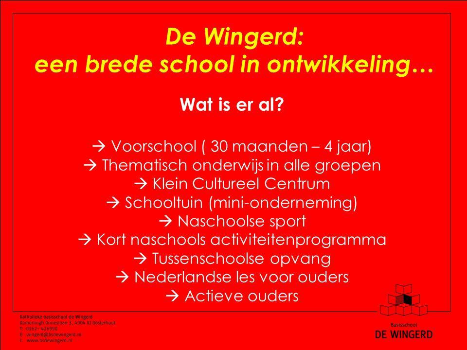 De Wingerd: een brede school in ontwikkeling… Wat is er al.