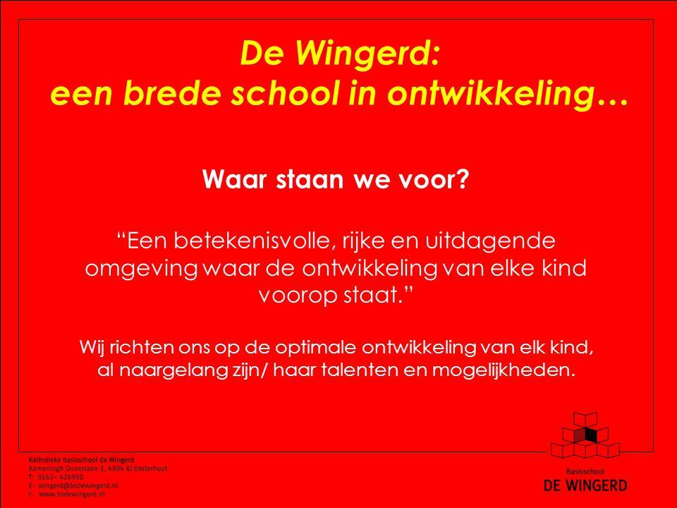 De Wingerd: een brede school in ontwikkeling… Waar staan we voor.