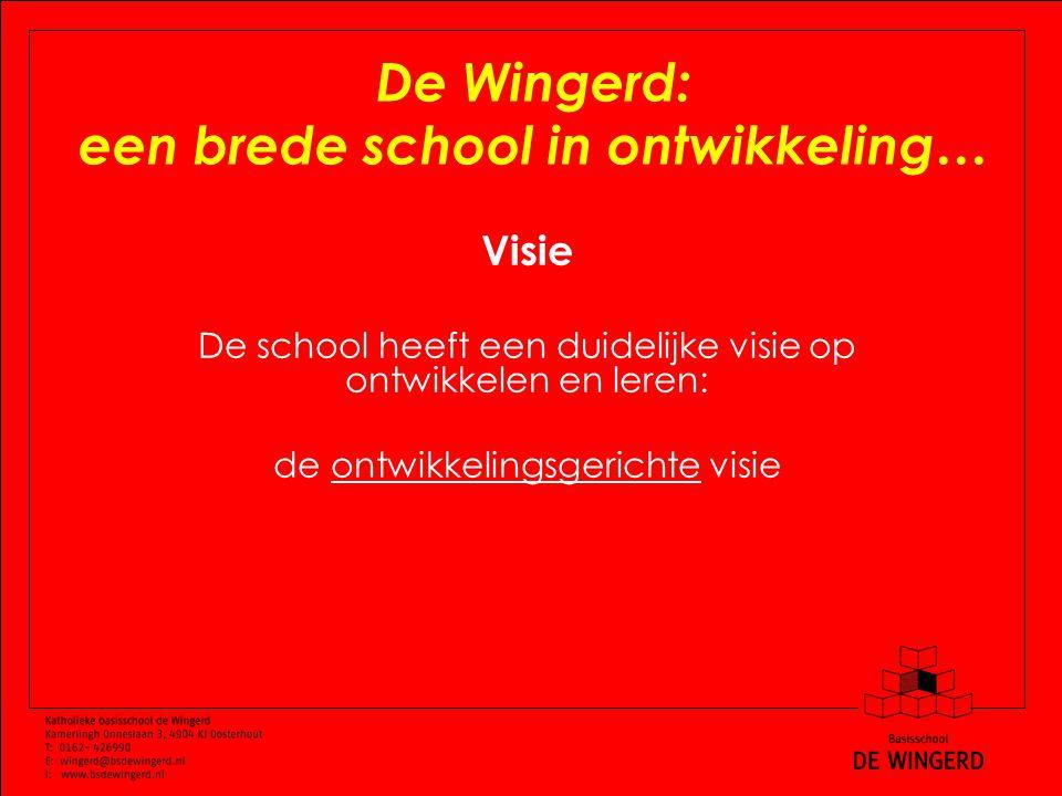 De Wingerd: een brede school in ontwikkeling… Visie De school heeft een duidelijke visie op ontwikkelen en leren: de ontwikkelingsgerichte visie