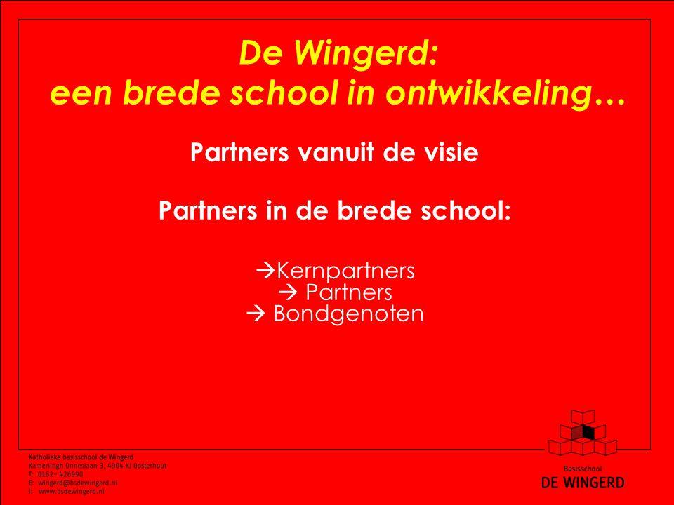 De Wingerd: een brede school in ontwikkeling… Partners vanuit de visie Partners in de brede school:  Kernpartners  Partners  Bondgenoten