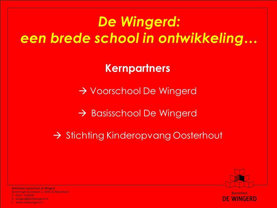 De Wingerd: een brede school in ontwikkeling… Kernpartners  Voorschool De Wingerd  Basisschool De Wingerd  Stichting Kinderopvang Oosterhout