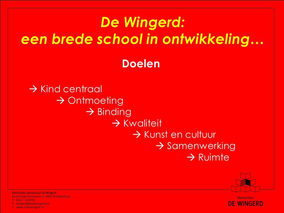 De Wingerd: een brede school in ontwikkeling… Doelen  Kind centraal  Ontmoeting  Binding  Kwaliteit  Kunst en cultuur  Samenwerking  Ruimte