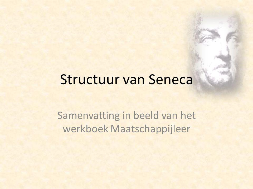 Structuur van Seneca Samenvatting in beeld van het werkboek Maatschappijleer