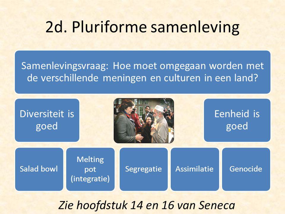 2d. Pluriforme samenleving Samenlevingsvraag: Hoe moet omgegaan worden met de verschillende meningen en culturen in een land? Diversiteit is goed Sala