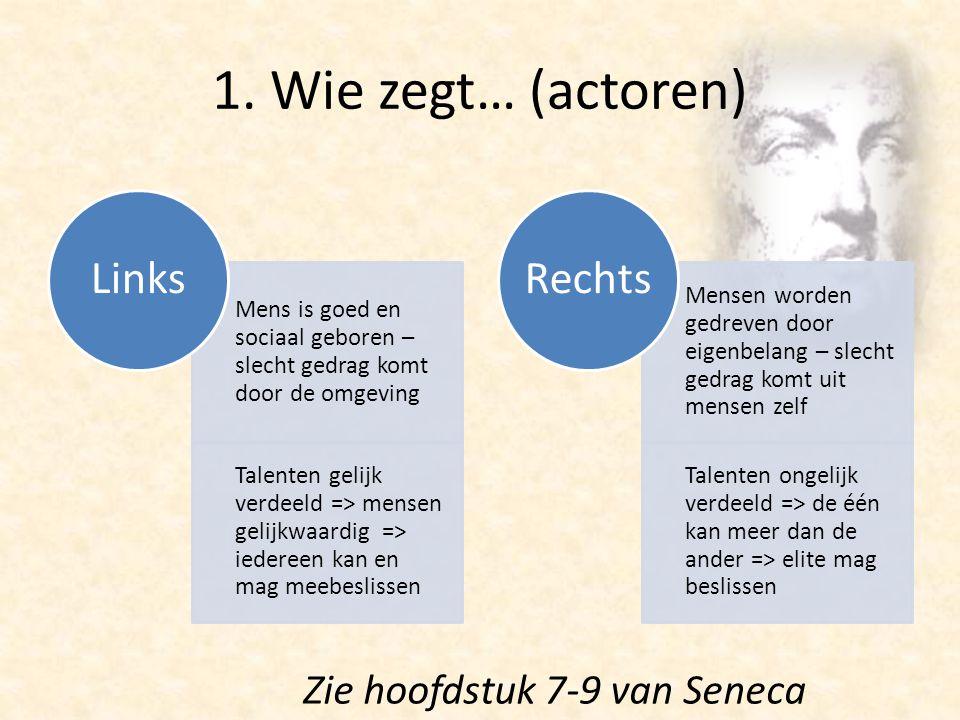 1. Wie zegt… (actoren) Mens is goed en sociaal geboren – slecht gedrag komt door de omgeving Talenten gelijk verdeeld => mensen gelijkwaardig => ieder