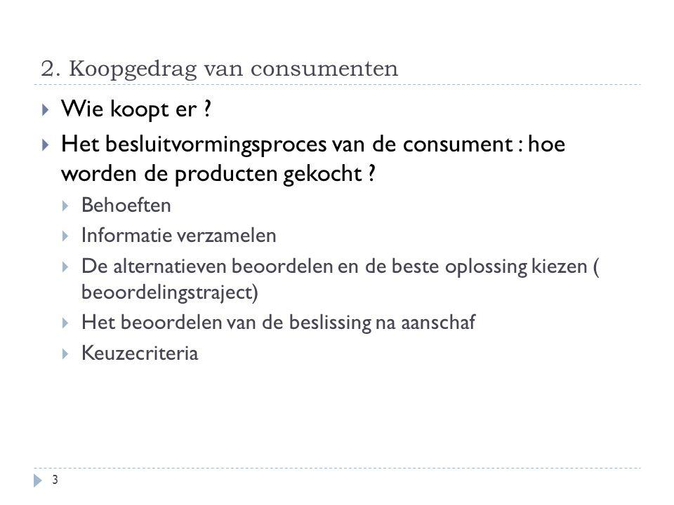 2. Koopgedrag van consumenten  Wie koopt er ?  Het besluitvormingsproces van de consument : hoe worden de producten gekocht ?  Behoeften  Informat