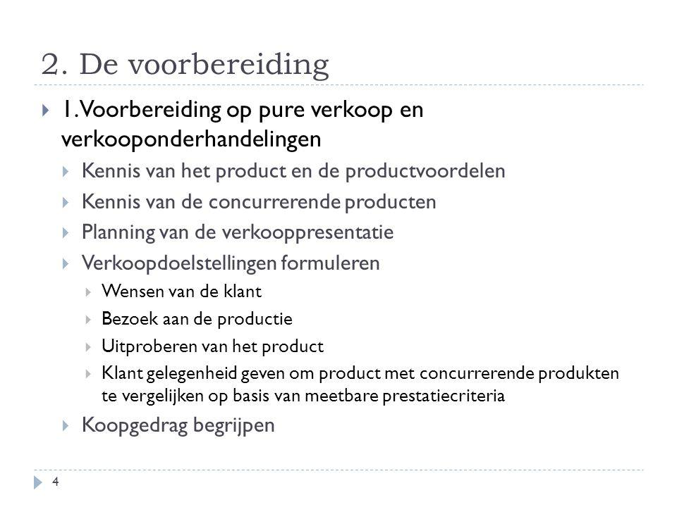 2. De voorbereiding  1. Voorbereiding op pure verkoop en verkooponderhandelingen  Kennis van het product en de productvoordelen  Kennis van de conc