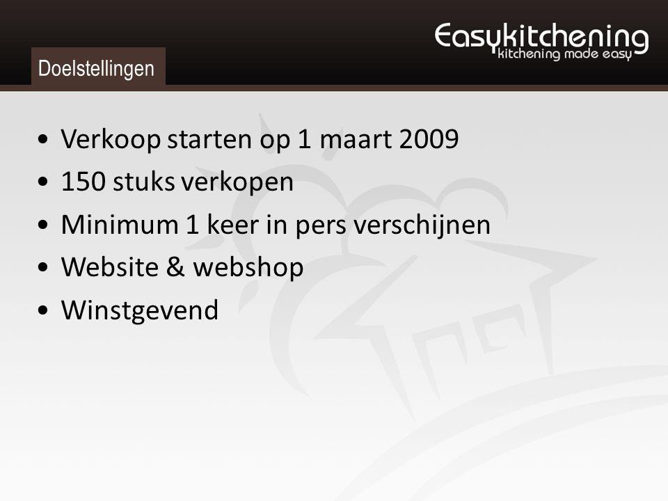 Doelstellingen Verkoop starten op 1 maart 2009 150 stuks verkopen Minimum 1 keer in pers verschijnen Website & webshop Winstgevend