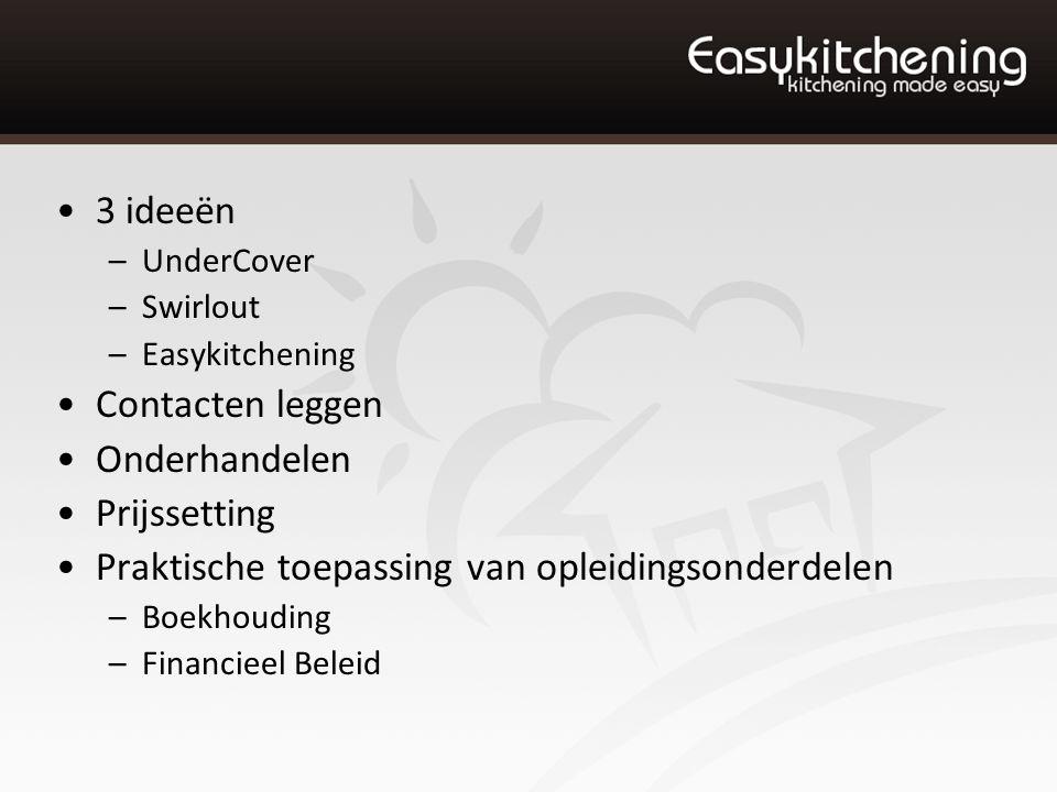 3 ideeën –UnderCover –Swirlout –Easykitchening Contacten leggen Onderhandelen Prijssetting Praktische toepassing van opleidingsonderdelen –Boekhouding