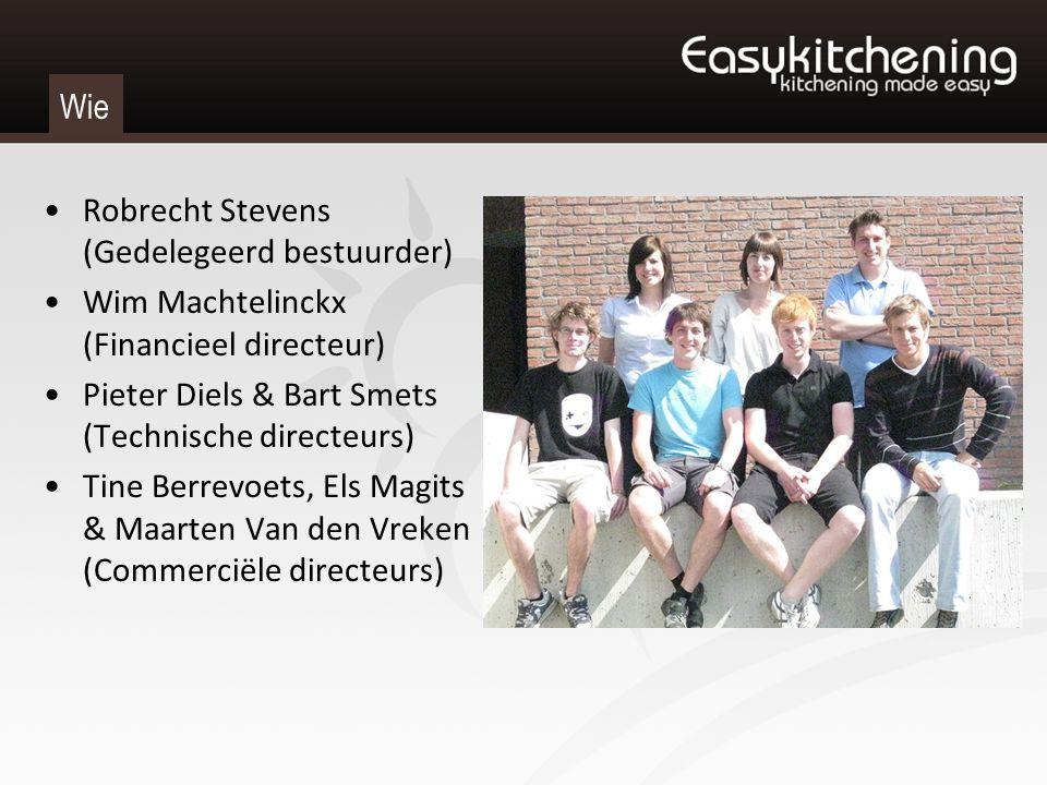 Wie Robrecht Stevens (Gedelegeerd bestuurder) Wim Machtelinckx (Financieel directeur) Pieter Diels & Bart Smets (Technische directeurs) Tine Berrevoet