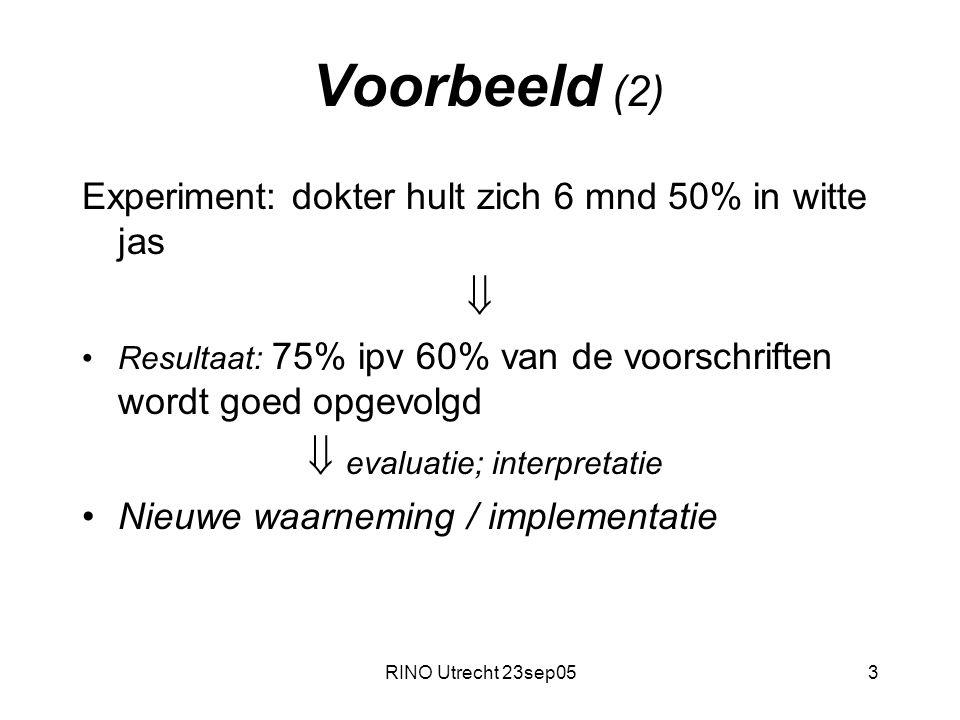 RINO Utrecht 23sep053 Voorbeeld (2) Experiment: dokter hult zich 6 mnd 50% in witte jas  Resultaat: 75% ipv 60% van de voorschriften wordt goed opgevolgd  evaluatie; interpretatie Nieuwe waarneming / implementatie