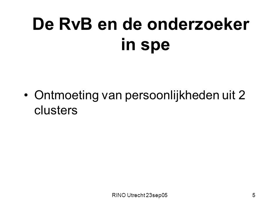 RINO Utrecht 23sep055 De RvB en de onderzoeker in spe Ontmoeting van persoonlijkheden uit 2 clusters