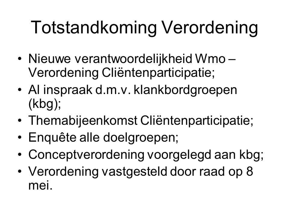 Totstandkoming Verordening Nieuwe verantwoordelijkheid Wmo – Verordening Cliëntenparticipatie; Al inspraak d.m.v.