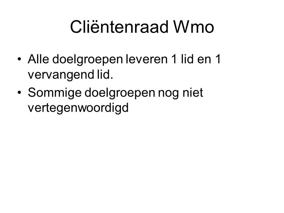 Cliëntenraad Wmo Alle doelgroepen leveren 1 lid en 1 vervangend lid.