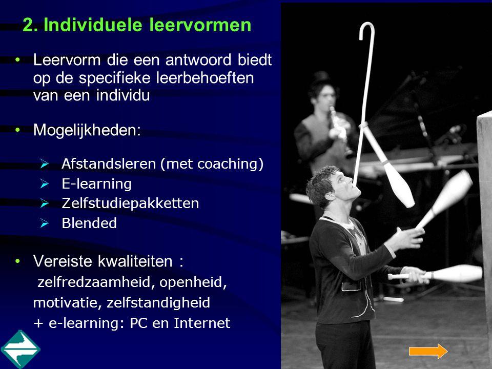 2. Individuele leervormen Leervorm die een antwoord biedt op de specifieke leerbehoeften van een individu Mogelijkheden:  Afstandsleren (met coaching