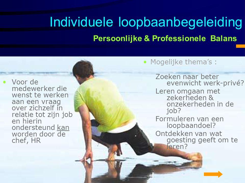 Persoonlijke & Professionele Balans Voor de medewerker die wenst te werken aan een vraag over zichzelf in relatie tot zijn job en hierin ondersteund k