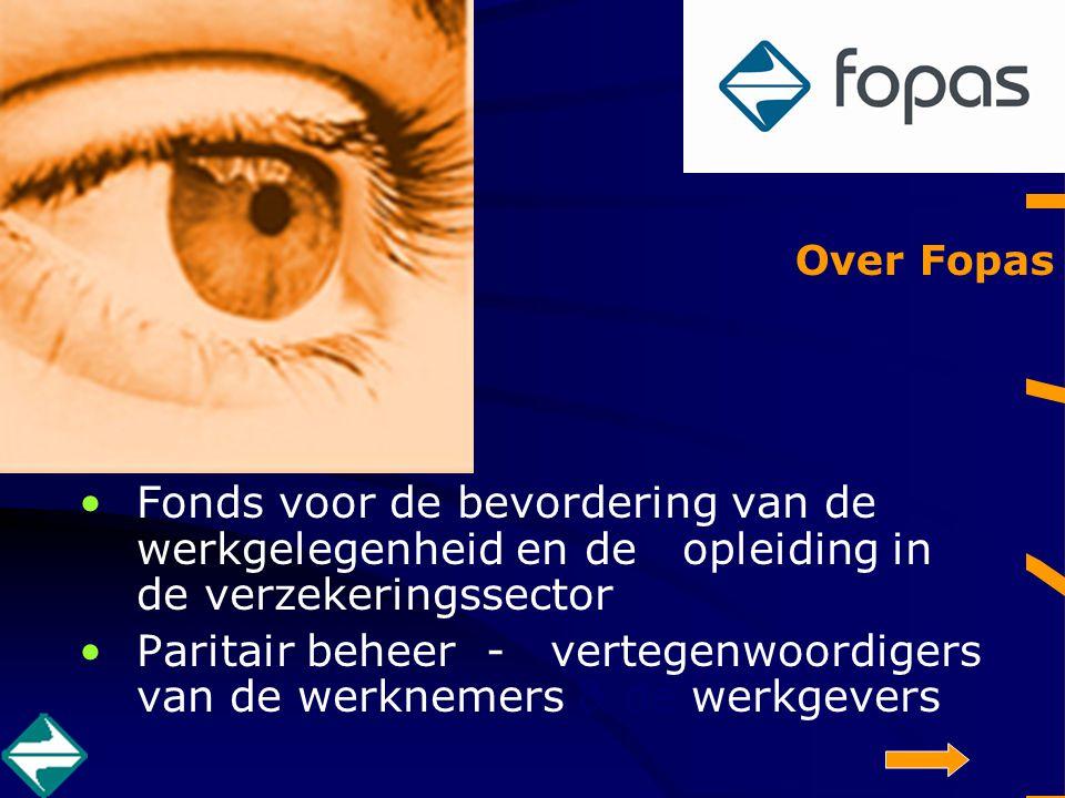 Fopas Fonds voor de bevordering van de werkgelegenheid en de opleiding in de verzekeringssector Paritair beheer - vertegenwoordigers van de werknemers