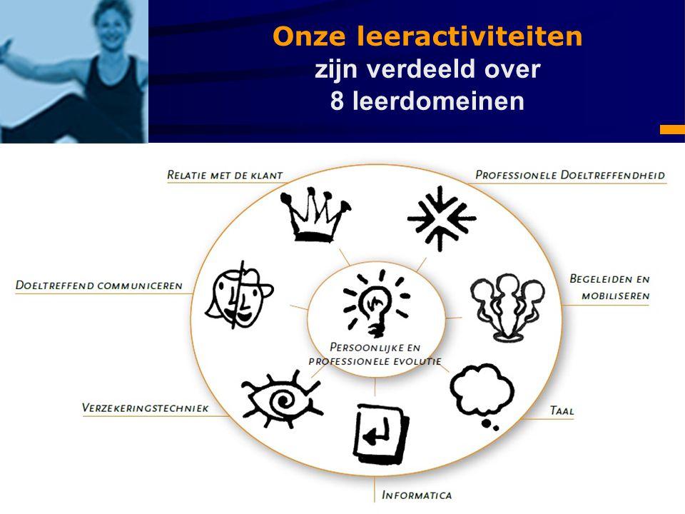 Onze leeractiviteiten zijn verdeeld over 8 leerdomeinen
