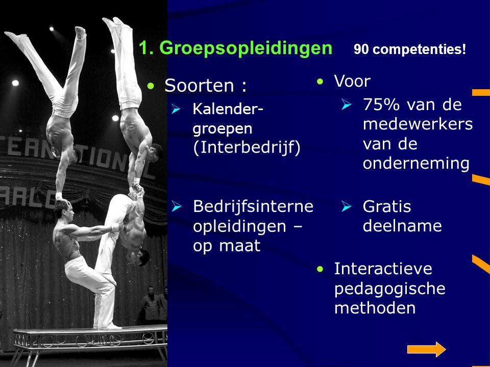 1. Groepsopleidingen 90 competenties! Soorten :  Kalender- groepen (Interbedrijf)  Bedrijfsinterne opleidingen – op maat Voor  75% van de medewerke
