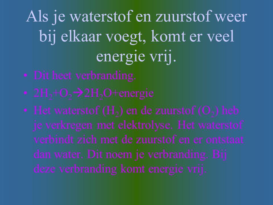 Als je waterstof en zuurstof weer bij elkaar voegt, komt er veel energie vrij.
