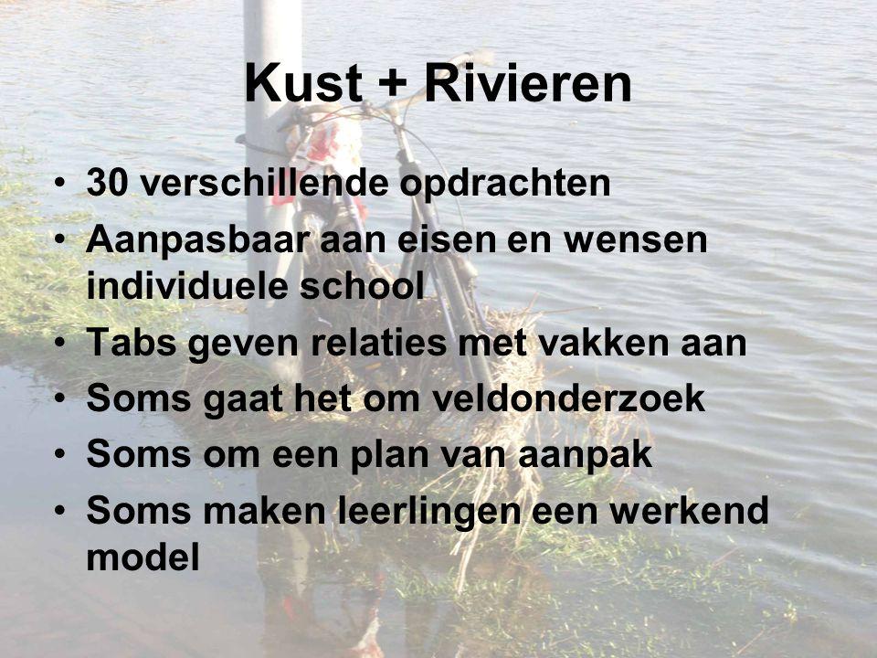 Kust + Rivieren 30 verschillende opdrachten Aanpasbaar aan eisen en wensen individuele school Tabs geven relaties met vakken aan Soms gaat het om veld