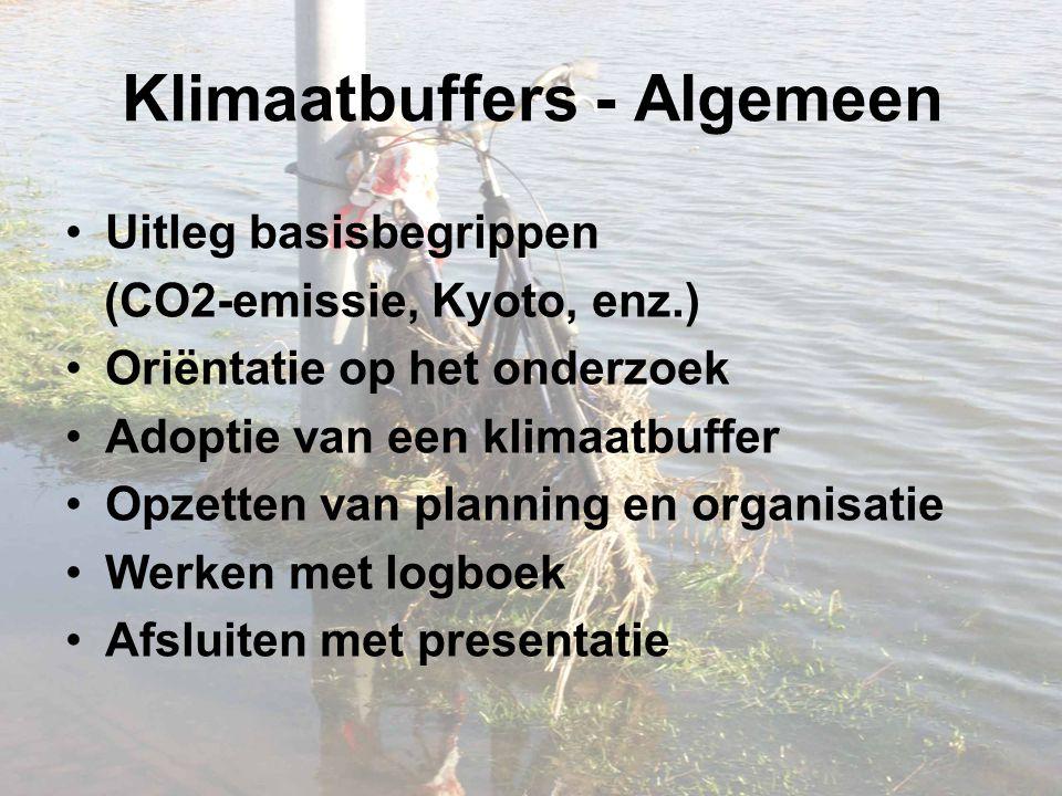 Klimaatbuffers - Algemeen Uitleg basisbegrippen (CO2-emissie, Kyoto, enz.) Oriëntatie op het onderzoek Adoptie van een klimaatbuffer Opzetten van planning en organisatie Werken met logboek Afsluiten met presentatie