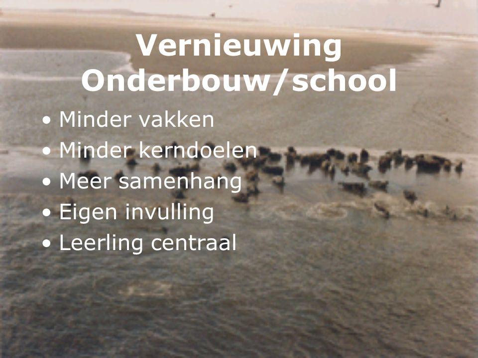 Vernieuwing Onderbouw/school Minder vakken Minder kerndoelen Meer samenhang Eigen invulling Leerling centraal