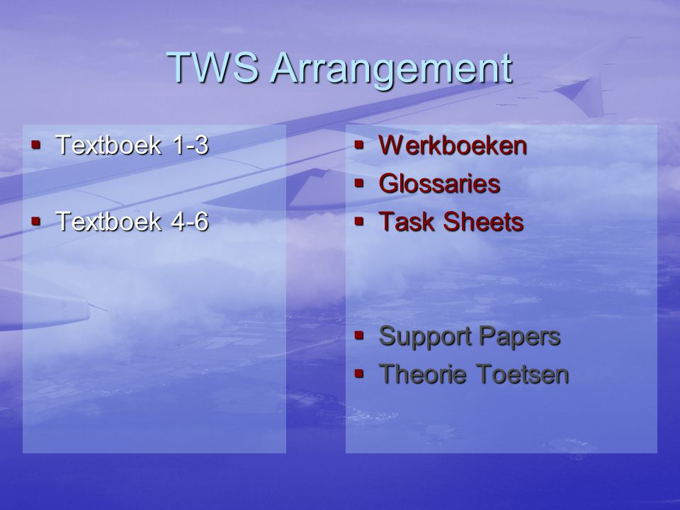 TWS Arrangement  Textboek 1-3  Textboek 4-6  Werkboeken  Glossaries  Task Sheets  Support Papers  Theorie Toetsen