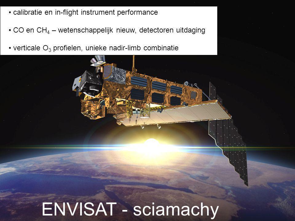 calibratie en in-flight instrument performance CO en CH 4 – wetenschappelijk nieuw, detectoren uitdaging verticale O 3 profielen, unieke nadir-limb combinatie ENVISAT - sciamachy