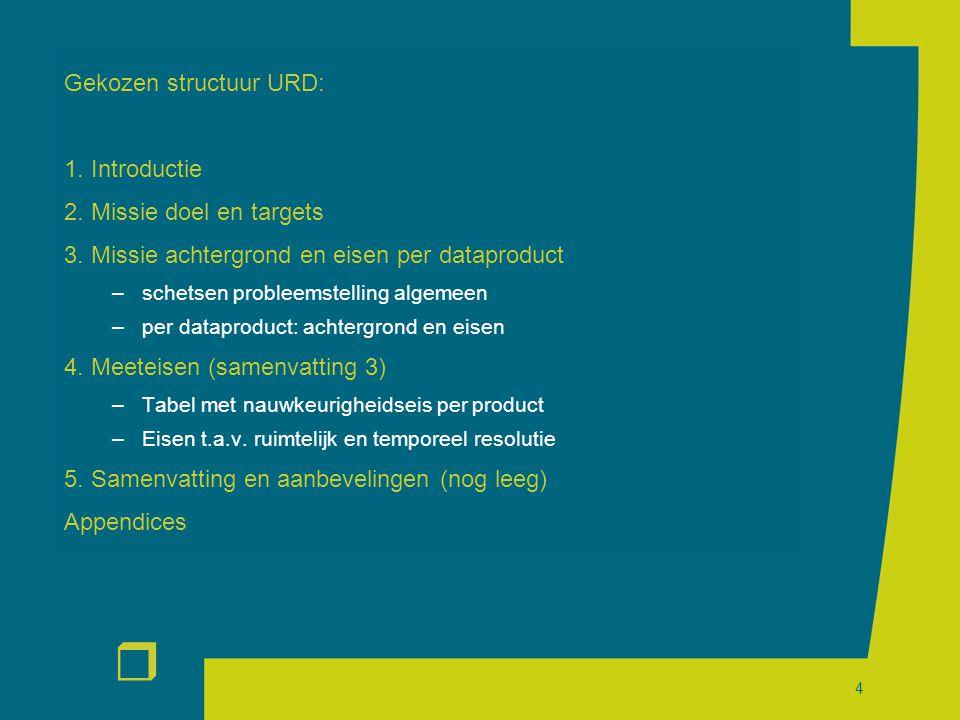 r 4 Gekozen structuur URD: 1. Introductie 2. Missie doel en targets 3.