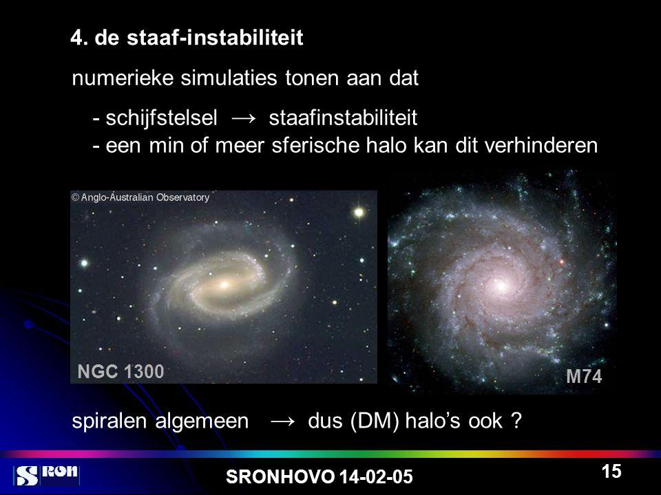 SRONHOVO 14-02-05 15 4. de staaf-instabiliteit numerieke simulaties tonen aan dat - schijfstelsel → staafinstabiliteit - een min of meer sferische hal