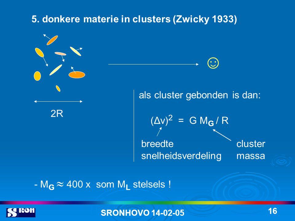 SRONHOVO 14-02-05 16 5. donkere materie in clusters (Zwicky 1933) 2R als cluster gebonden is dan: (Δv) 2 = G M G / R breedte snelheidsverdeling - M G