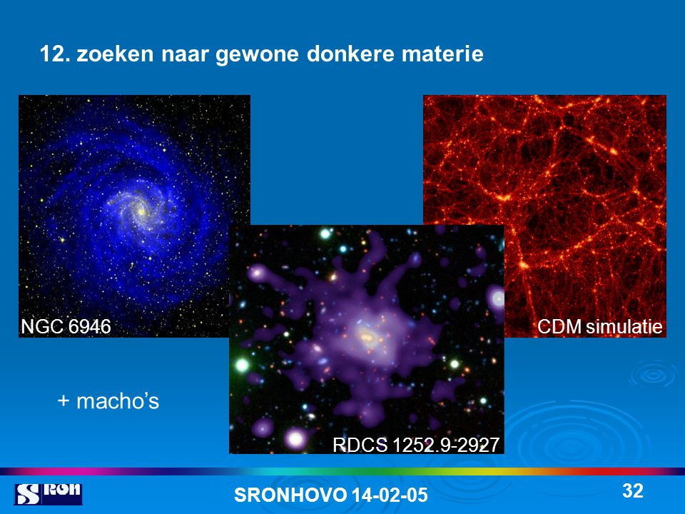 SRONHOVO 14-02-05 32 12. zoeken naar gewone donkere materie NGC 6946 RDCS 1252.9-2927 CDM simulatie + macho's