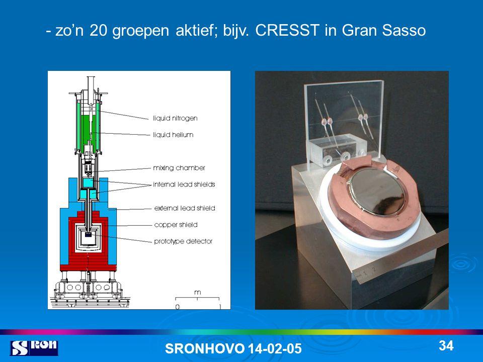 SRONHOVO 14-02-05 34 - zo'n 20 groepen aktief; bijv. CRESST in Gran Sasso