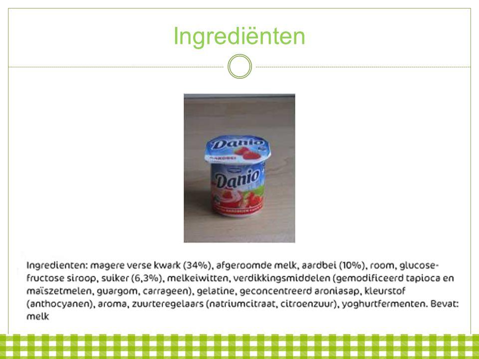 Naam en omschrijving Gezouten aardappelchips Vruchtendrank uit geconcentreerd vruchtensap