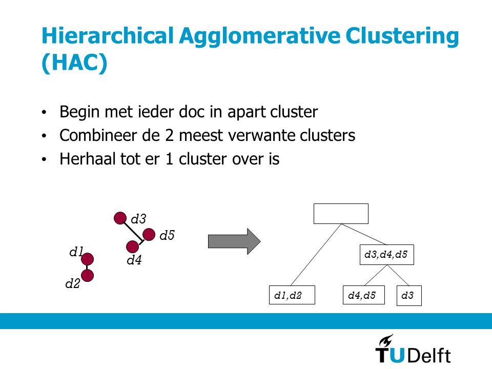 Hierarchical Agglomerative Clustering (HAC) Begin met ieder doc in apart cluster Combineer de 2 meest verwante clusters Herhaal tot er 1 cluster over is d1 d2 d3 d4 d5 d1,d2 d4,d5 d3 d3,d4,d5