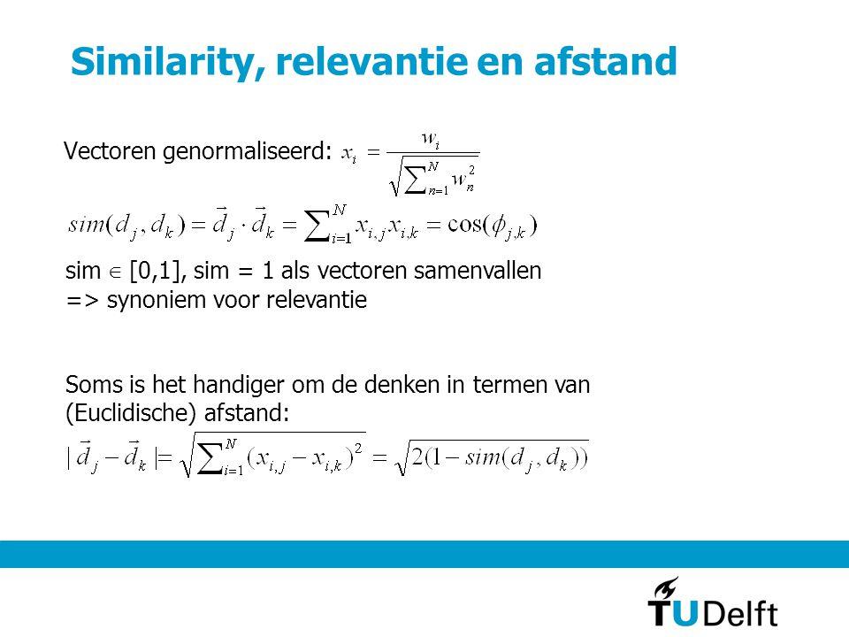 Similarity, relevantie en afstand Vectoren genormaliseerd: sim ∈ [0,1], sim = 1 als vectoren samenvallen => synoniem voor relevantie Soms is het handiger om de denken in termen van (Euclidische) afstand: