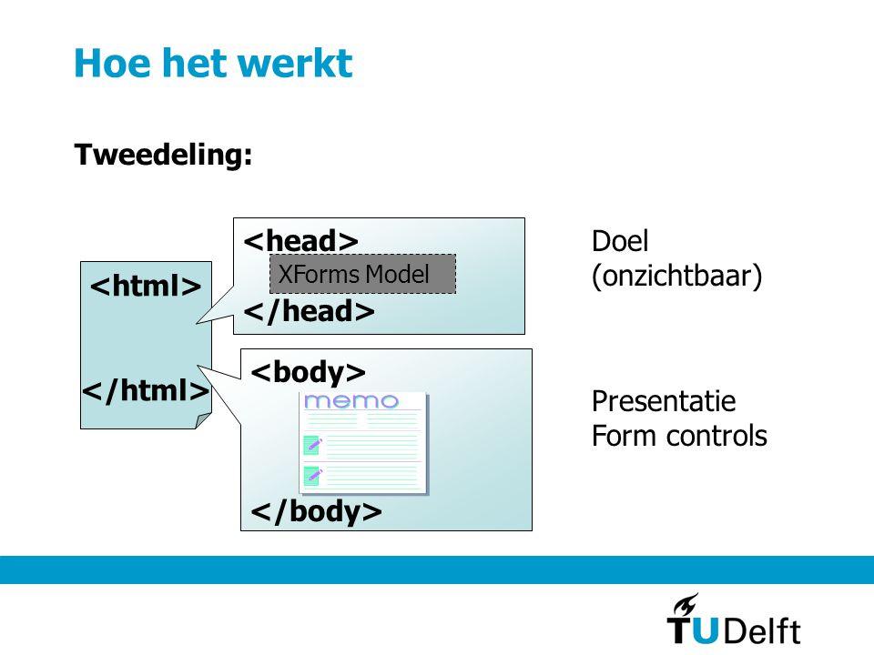 Hoe het werkt Tweedeling: XForms Model Doel (onzichtbaar) Presentatie Form controls
