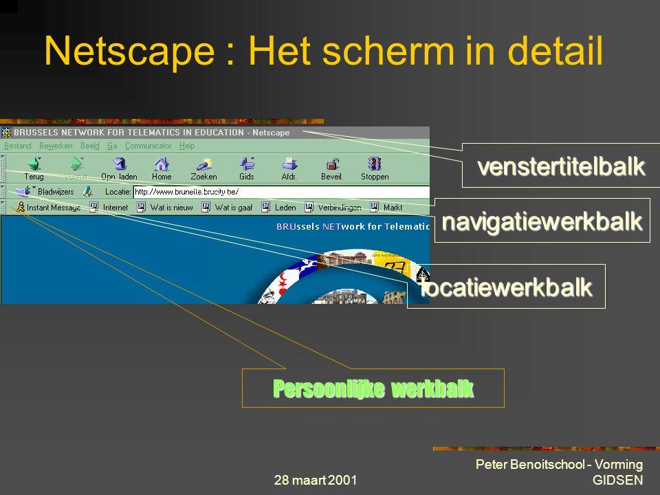 28 maart 2001 Peter Benoitschool - Vorming GIDSEN In browsers vanaf versie 4 kan je het gedeelte http:// weglaten bij het ingeven van een URL