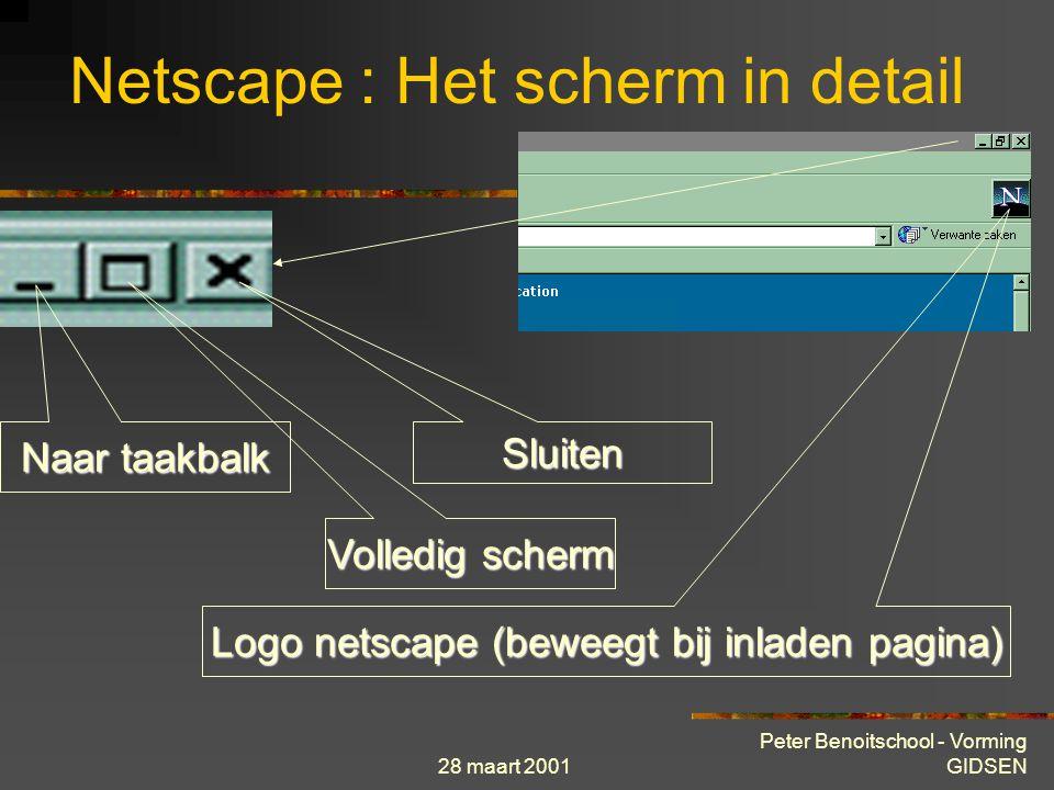 28 maart 2001 Peter Benoitschool - Vorming GIDSEN venstertitelbalk navigatiewerkbalk locatiewerkbalk Persoonlijke werkbalk Netscape : Het scherm in de
