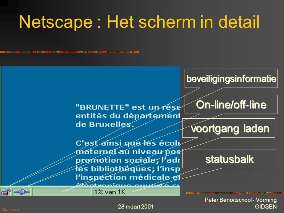 28 maart 2001 Peter Benoitschool - Vorming GIDSEN Logo netscape (beweegt bij inladen pagina) Netscape : Het scherm in detail Naar taakbalk Volledig scherm Sluiten