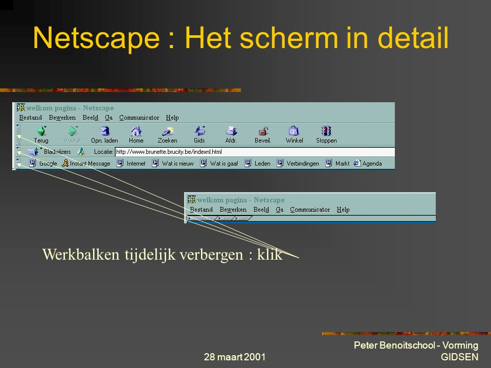 28 maart 2001 Peter Benoitschool - Vorming GIDSEN componentenbalk Netscape : Het scherm in detail Navigator : surfen Messenger : E-mail Messenger : nieuwsgroepen Messenger : adresboek Composer : pagina's opmaken