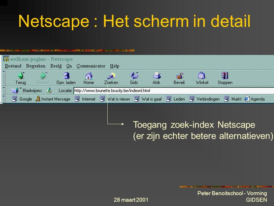 28 maart 2001 Peter Benoitschool - Vorming GIDSEN Netscape : Het scherm in detail Zo kiest u een nieuwe home-page: 1.Open de pagina die u wilt gebruiken als uw home-page.