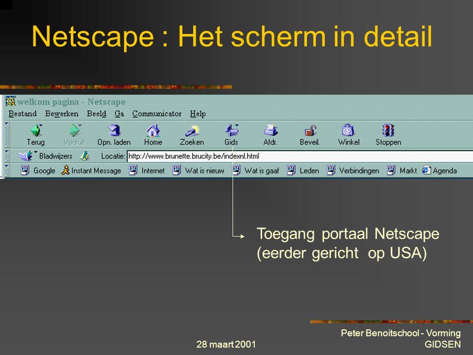 28 maart 2001 Peter Benoitschool - Vorming GIDSEN Netscape : Het scherm in detail Toegang zoek-index Netscape (er zijn echter betere alternatieven)