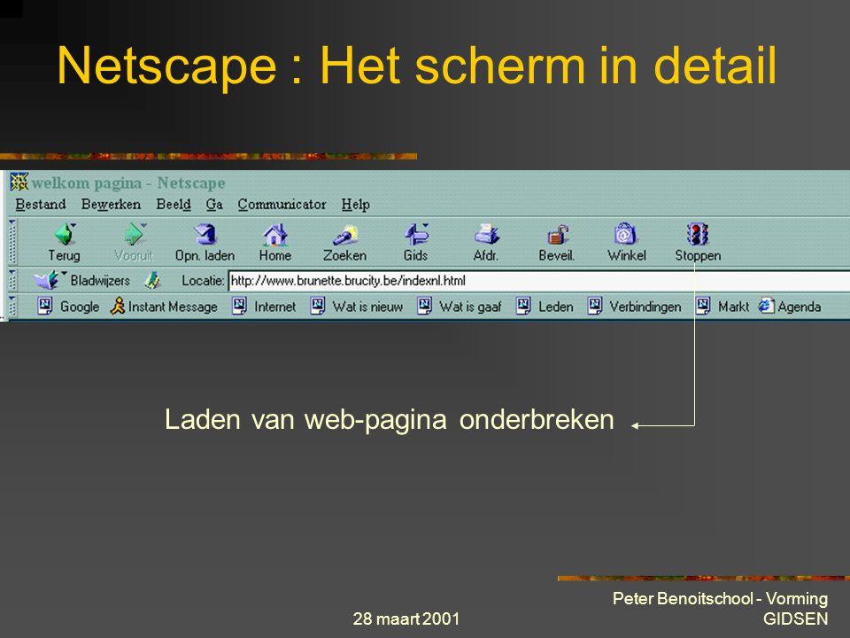 28 maart 2001 Peter Benoitschool - Vorming GIDSEN Netscape : Het scherm in detail Toegang shopping Netscape (eerder gericht op USA)